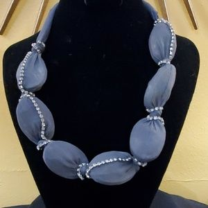 LOFT Grey Mesh Covered Gem Choker #610
